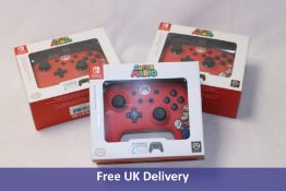 Three PowerA Nintendo Switch Enhanced Wired Controllers, Super Mario/Red