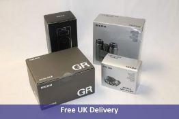 Ricoh products to include 1x Pentax SD 10x42 WP Binoculars, 1x UP 8x21 Binoculars, 1x Ricoh Theta Z1