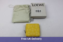 Loewe Square Anagram Leather Zip Wallet, Yellow and White. Comes with Dust Bag