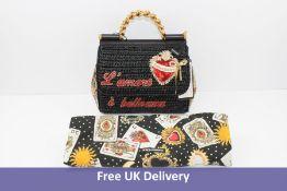 Dolce & Gabbana Miss Sicily Medium L'Amore e Bellezza Embellished Raffia Bag