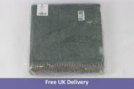 Urbanara Gotland Blanket, Wool, Herringbone Design, Green