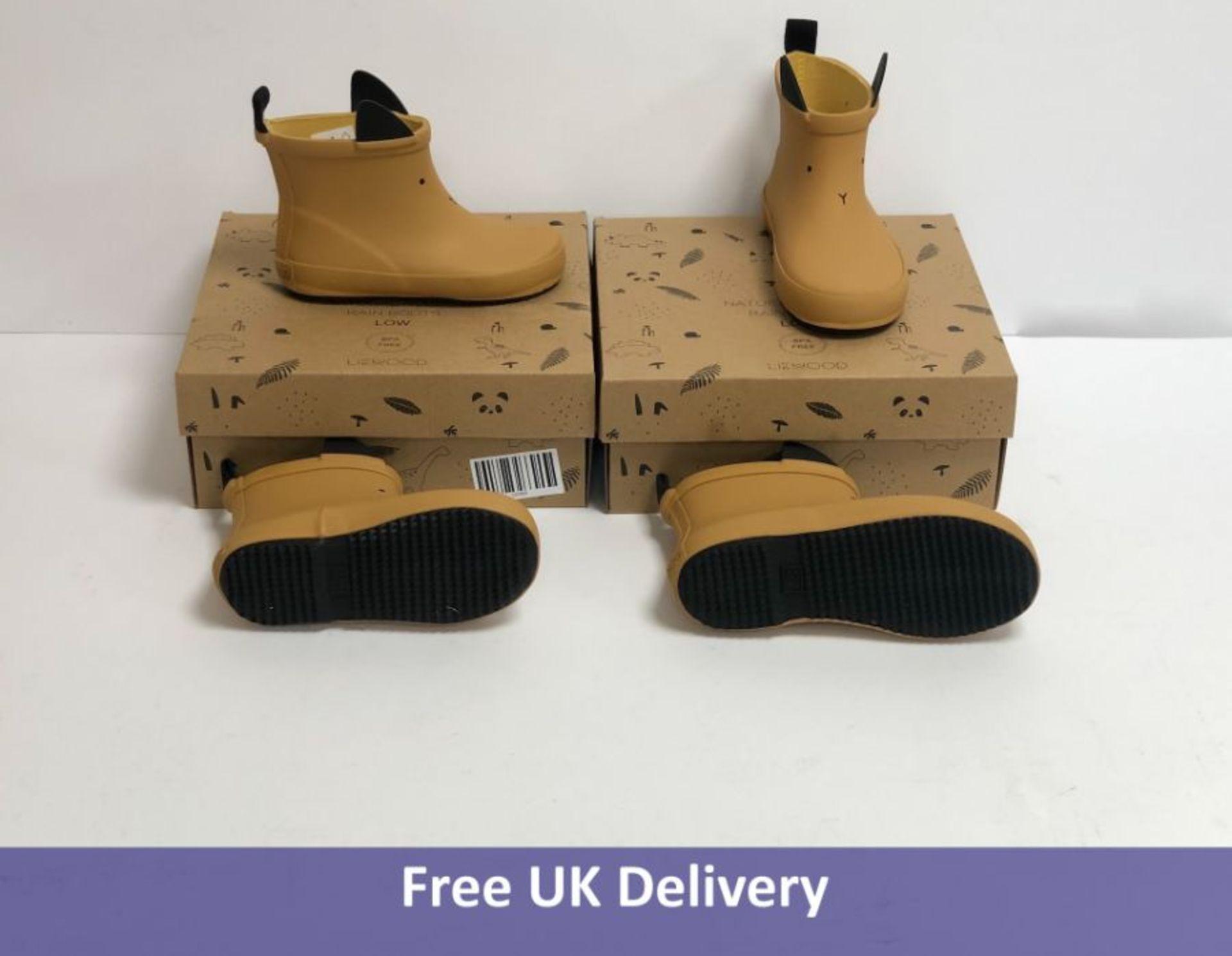 Two pairs of Liewood Infant Tobi Rain Boots, Rabbit, Mustard, UK 7