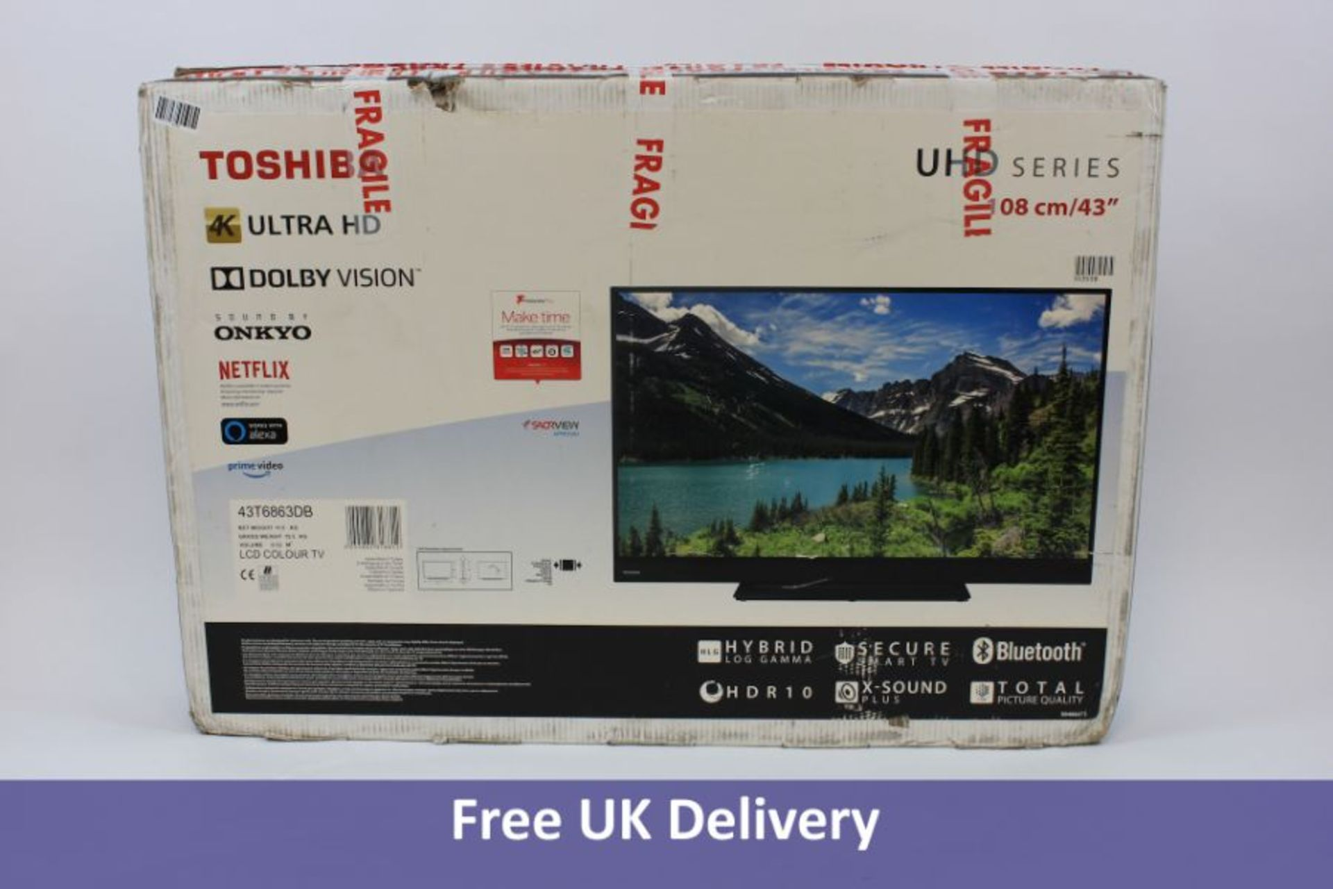 Toshiba UHD 4K Ultra HD Bluetooth TV With Stand, 43 Inch, Black
