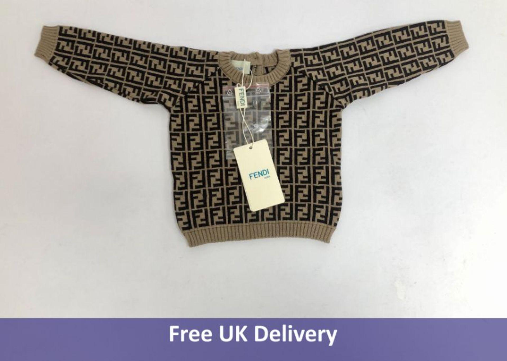 Fendi Kid's Monogram Knitted Jumper, Beige, Size 3 Months