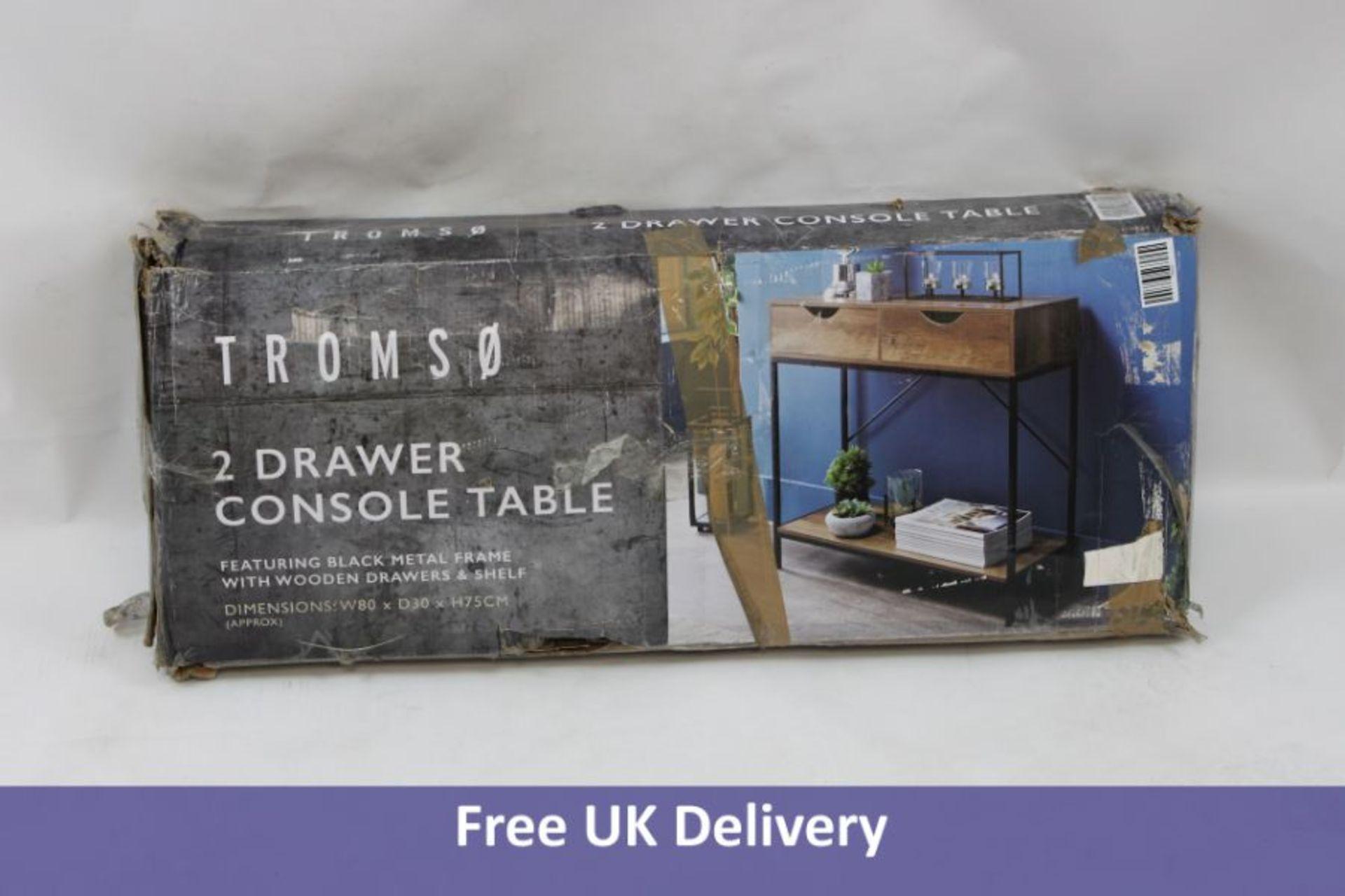 Tromso Console Table, Black Metal Frame. Box damaged