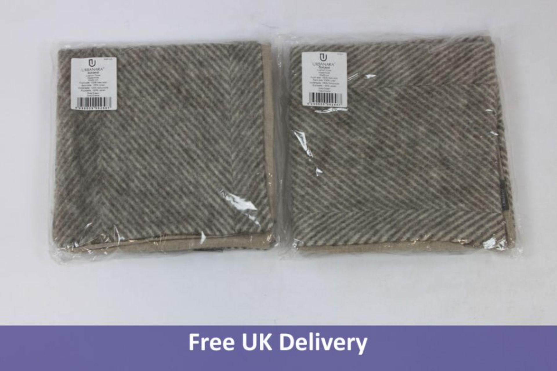 Pair of Urbanara Gotland Cushion Covers, Grey, 50 x 50 cm