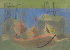 """Gustav Deppe. """"Boote blau-grün, Norwegen"""". 1945/46"""