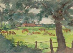 Lotte Laserstein. Landschaft mit weidenden Kühen und Pferden.