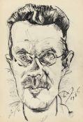 Ludwig Meidner. Porträt eines Mannes mit Brille. 1916