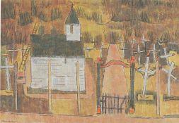 """Gustav Deppe. """"Kirche und Friedhof, Norwegen"""". 1941/46"""