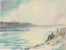 Max Kaus. Küstenstrich mit Seebrücke. 1930er-Jahre