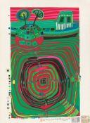 """Friedensreich Hundertwasser. """"La Barca - Regentag - Slow travel under the sun"""". 1969"""