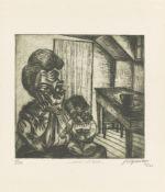 """Conrad Felixmüller. """"Arbeiterfrau mit Kind"""" / """"Arbeiterpaar"""". 1920 / 1921"""