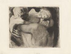 """Käthe Kollwitz. """"Tod und Frau um das Kind ringend """". 1911"""