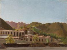 Französisch, um 1830. Südliche Stadt am Gebirge.