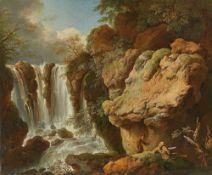 Christian Wilhelm Ernst Dietrich. Landschaft mit Wasserfall und zwei Wanderern.