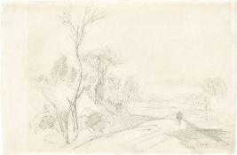 Jean-Baptiste-Camille Corot. Homme sur un chemin bordé d'arbres.