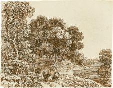 Johann Georg von Dillis. Wald-Flusslandschaft mit Herde. Um 1820