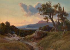 Johann Hermann Camiencke. Flusslandschaft im Abendlicht. 1847