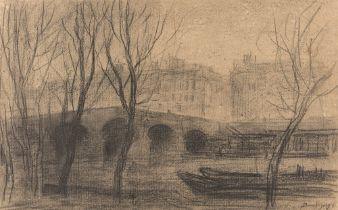 Charles-François Daubigny. Vue des quais de Seine et du Pont Marie, Paris.