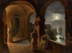"""Franz Ludwig Catel. """"Karthäusermönche in einem nächtlichen Klosterkreuzgang der Certosa…. Um 1820/24"""