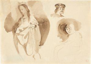 """Eugène Delacroix. Kopfstudie zur Lithografie """"Macbeth befragt die Hexen"""" (und weiteren Stu…. Um 1825"""