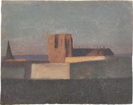 Französisch, um 1820/30. Blick über die Dächer auf eine Kathedrale.