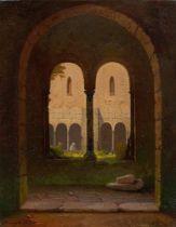 Gustav von Haugk. Blick durch einen Klostergang. 1850