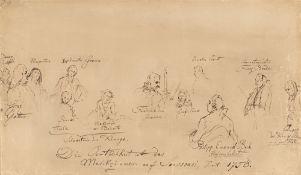 """Adolph Menzel. Die Personen des """"Flötenkonzerts"""". 1852"""