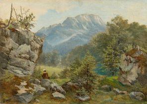 Carl Spitzweg. Hochgebirgslandschaft mit Maler.
