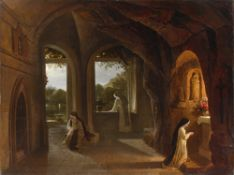 """Franz Ludwig Catel. """"Dominikanernonnen in einer Klosterkapelle bei Nacht mit Blick in e…. Um 1820/24"""