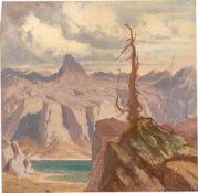 Deutsch, um 1820/30. Zwei Hochgebirgsstudien mit Gletschersee.