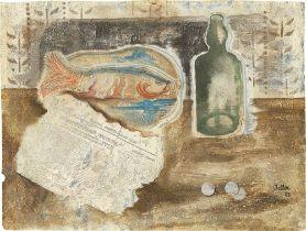 Jankel Adler. Stillleben mit Fisch, Flasche und Zeitung. 1928
