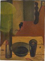 Gottfried Brockmann. Ohne Titel (Interieur mit Katze). Um 1923