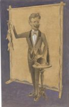 """Gottfried Brockmann. """"Jahrmarktsbilder - Zauberer"""". 1929"""