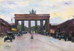 """Lesser Ury. """"Brandenburger Tor vom Pariser Platz aus gesehen, Berlin"""". (Vor) 1928"""
