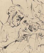 """Erich Heckel. """"Nähende"""" (Siddi Heckel). 1922"""