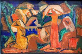 Josef Eberz. Vier Frauen in einer Flusslandschaft. 1914