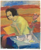 Max Kaus. Lesende am Tisch (Turu Kaus). 1921