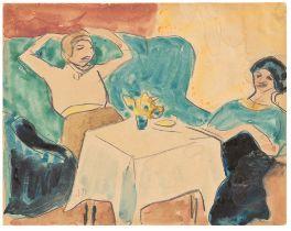 Hermann Max Pechstein. Zwei Damen am Tisch. Um 1910/12