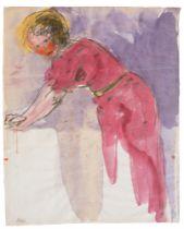 """Emil Nolde. """"Stehende nach links gebeugte Frau in rotem Kleid mit ausgestreckten Armen"""". Um 1916/20"""