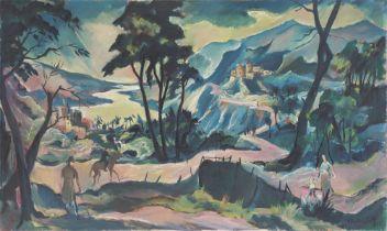 Franz Heckendorf. Gebirgslandschaft mit Fluss und Burgen. 1920