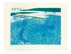 """David Hockney. """"Lithograph of Water Made of Thick and Thin Lines, a Green Wash, a Light Bl…. 1978-80"""