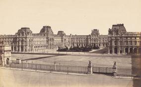 Édouard Denis Baldus. La Cour Napoléon du Louvre, Vue du Carrousel / Pavillon Moll…. Each circa 1857