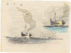 Lyonel Feininger. Segelboot mit Wolke (Studienblatt). 1934