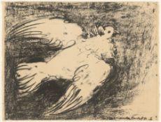 "Pablo Picasso. ""La colombe en vol, fond noir"". 1950"