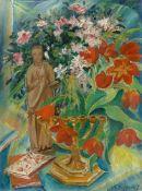 Franz Heckendorf. Blumenstilleben mit Menora und Figur. 1920