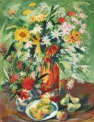Franz Heckendorf. Blumenstillleben mit Äpfel und Birnen. 1924