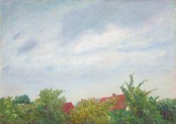 Emil Orlik. Aus Mecklenburg. Dächer und Himmel.. 1918