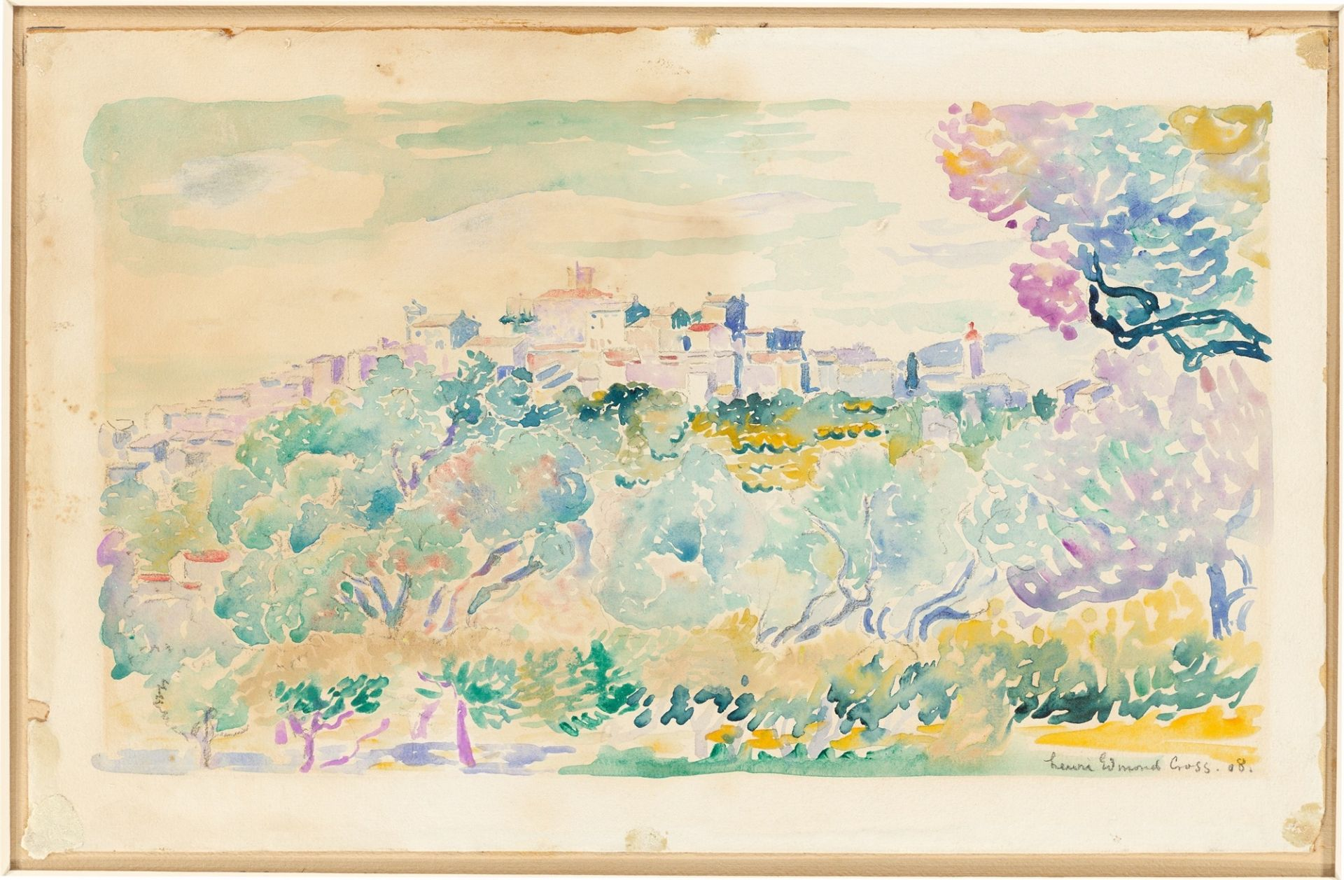 Henri Edmond Cross. Southern landscape with olive grove and small town on a hill. 1908 - Image 2 of 3